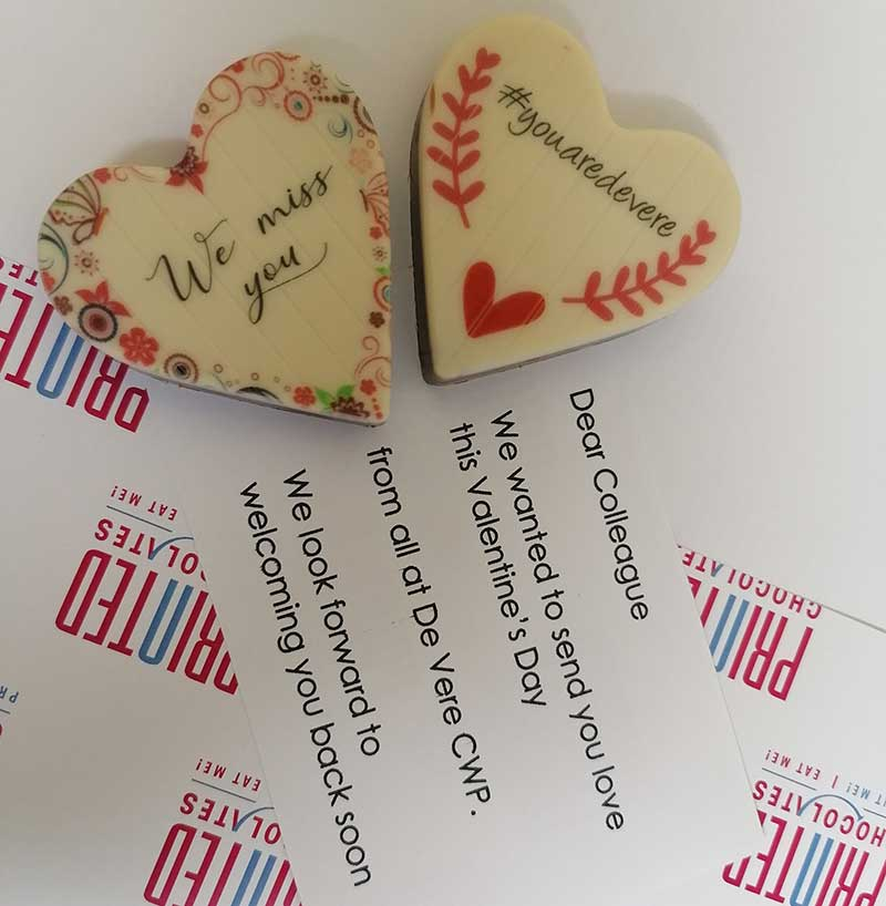 2 Heart shaped chocolates personalised for De Vere Hotel